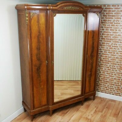Antique French Mahogany Mirrored Hanging Wardrobe/ Linen Press Original FLATPACK