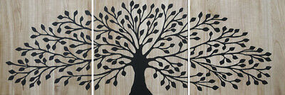 NEW Mangowood Small Tree of Life Reverse Carved Artwork in Black