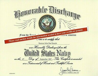 United States Navy Honorable Discharge Replacement Certificate