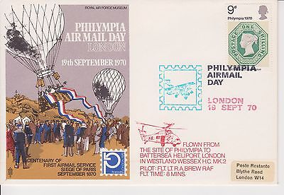 Fc136 Raf Flown Cover Philympia Airmail 1970 Westland Wessex Battersea Heliport