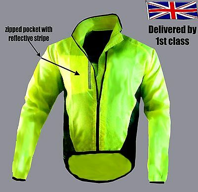 Cycling Jacket Highly Visibile Hi Viz Windproof Waterproof Breathable Walking