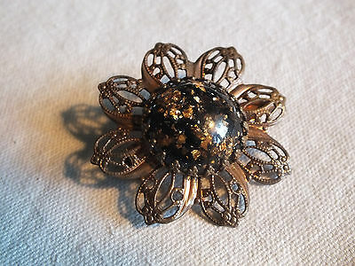 Beautiful Brooch Pin Flower Shape Copper Tone Filigree Metallic Black Cabochon