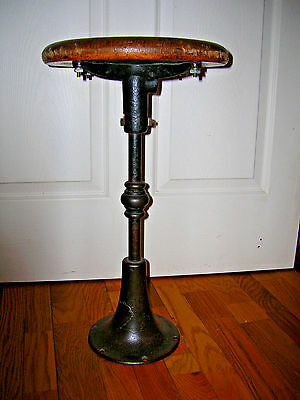 Antique Cast Iron Oak Wood Spin STOOL Industrial Elevator Bar Counter Seat Bolts