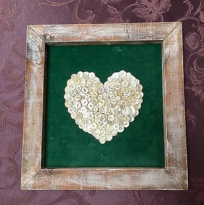 Heart Of Vintage Mother Of Pearl Buttons  Velvet In Rustic Wood Frame  Wedding