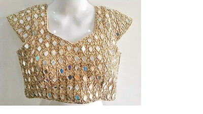 Bollywood Ethnic Designer Ready Made Blouse Indian Saree Wedding Wear In Gold