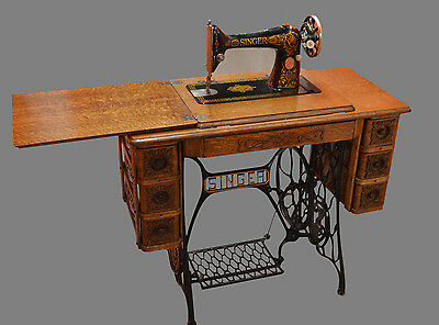 Antique Singer Sewing Machine & 7 Drawer Embossed Wood Treadle Cabinet