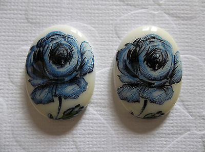 Qty 6 Vintage Cameos 8mm Blue Rose on Black Glass Cabochons