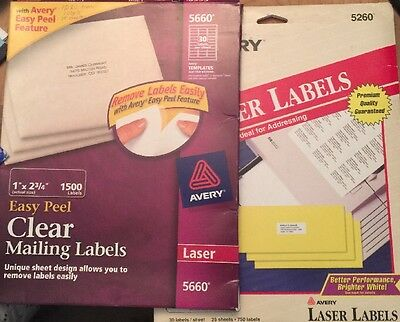 Lot Over 1500 Avery Laser Mailing Labels Clear 5660 1x2.3/4, White 5260 1x2.5/8