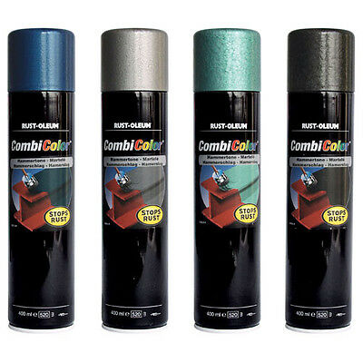 Rust Oleum CombiColor Hammertone Metal Spray Paint Light Blue 400ml