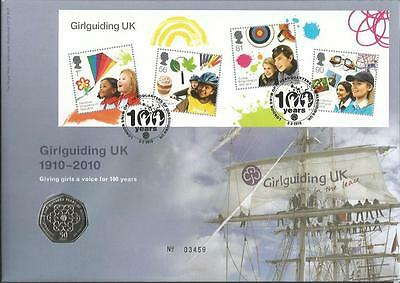 Girlguiding UK 1910 2010 coin FDC PNC Royal Mint Official cover C58