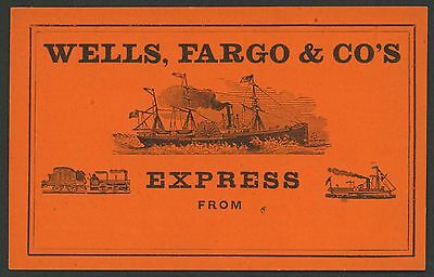 Wells Fargo Express Label showing Old Style Train and Steamboats
