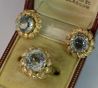 Stunning Aquamarine and 18ct Gold Ring and Earrings Set d1681