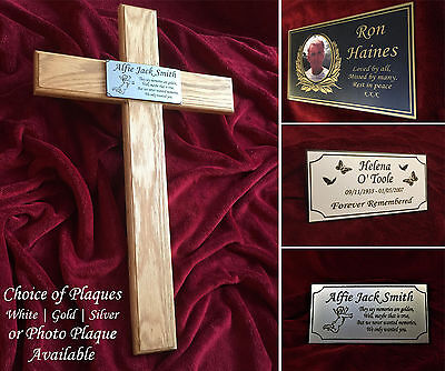 40'' Wooden Memorial Cross Solid Oak Grave Marker & Personalised Photo Plaque