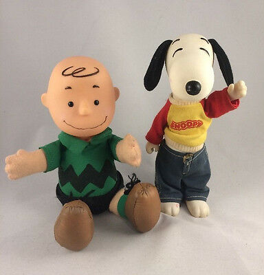 Vintage Peanuts 1966 McDonalds Charlie Brown + Knickerbocker Snoopy Vinyl Plush