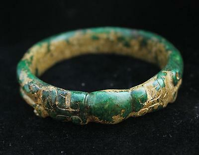 78mm Chinese Dynasty Antique Old Jade Hand-carved Dragon Beast bracelet bangle