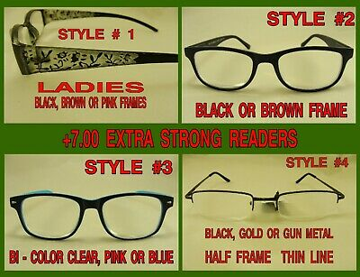 +7.00 Extra Strong Reading Glasses Very Strong Magnifiers Choice 4 Styles