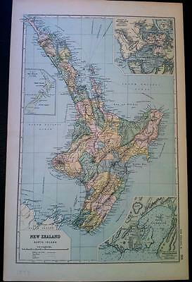 Original Map of NEW ZEALAND, NORTH  ISLAND c1893, by G W BACON, Litho colour VGC