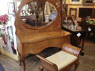 Antique Dutch Marquetry Dressing Table With Mirror And Seat