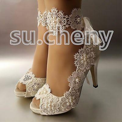 "3"" 4"" satin white ivory lace snowflake open toe heels Wedding shoes size 5-9.5"