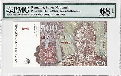 Romania, 1991 500 Lei P98b PMG 68 EPQ  ((low serial# 00083x))