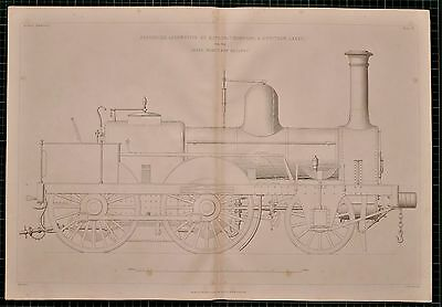 1855 Locomotive Print Passenger By Kitson Thompson & Hewitson Leeds Northen Rail