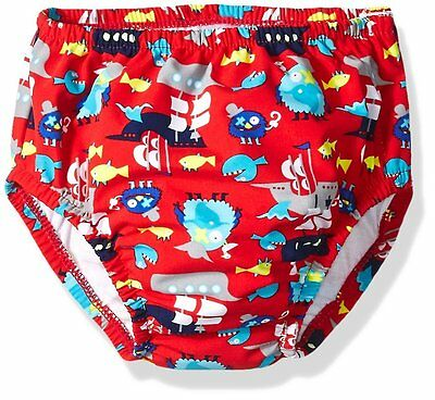 Swim Time Baby Boys' Funny Pirate Reusable Diaper with Side Snaps, Red, 6-12M
