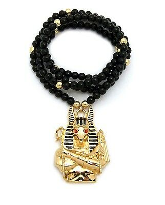 "NEW EGYPTIAN GOD ANUBIS PENDANT 6mm/30"" BLACK GLASS STONE BEAD NECKLACE RC2415G"