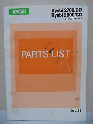 Ryobi Offset Press 2700/cd 2800/cd Parts Manual Oct 1989