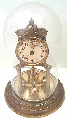 German Urania 400 Days anniversary Winding Movement Clock With Glass  Dome