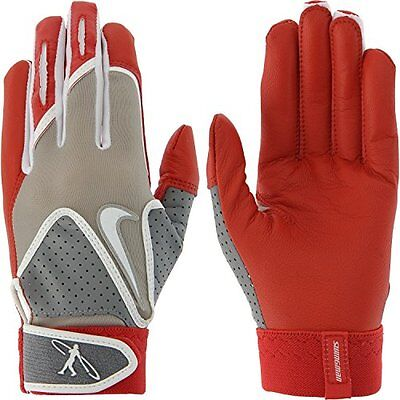 new youth M nike baseball griffey swingman batting gloves leather palm red/grey