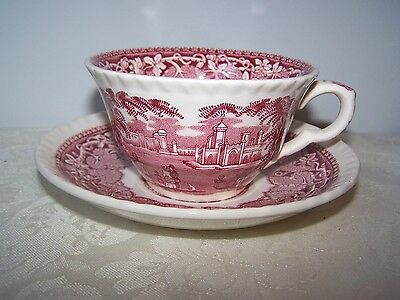 Beautiful Masons / Mason's Pink / Red Vista Cup And Saucer