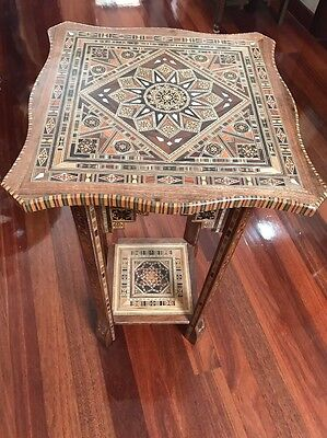 Antiques Style Oriental Mosiac Wooden Side Table