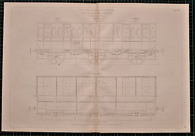 1855 Locomotive Print Second Class Carriage Bristol & Exeter Railway Elevation