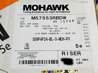 Belden Mohawk M57553 24/4P CAT5e LAN UTP Networking Cable Riser Blue /100ft