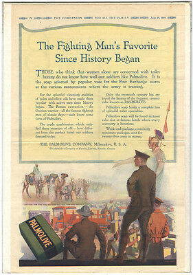 Rare Orig VTG 1918 Palmolive WW1 Fighting Man's Favorite Advertising Art Print