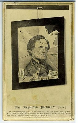 Civil War Cdv-  Cartoon – Jeff Davis In A Broken Picture Frame.