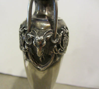 Gorham Solid Sterling Silver Vase Art Deco Flowers Ram Heads Art Nouveau
