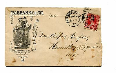 Vintage Advertising Envelope FAIRBANKS & CO SCALES 2 sided 1892 Philadelphia