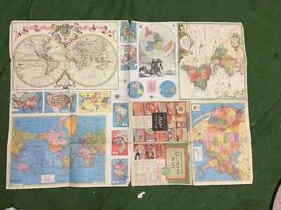 Vintage Hammonds USA  world wall map color Multiple Maps Poster