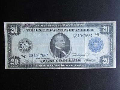 DRAMATIC MARK DOWN 1914 US Federal Reserve Note for $20., 7G, Grover Cleveland
