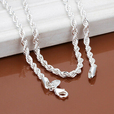 Fashion Snake Rope Chain 925 Sterling Silver Men Women Jewelry Necklace 16-30''