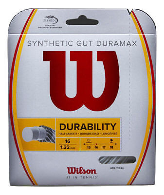 5x WILSON Synthetic Gut Duramax 16g 1.32mm Tennis Racquet String 12m Durability