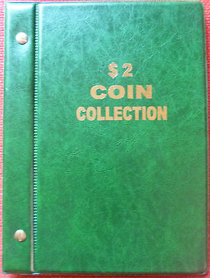 VST AUSTRALIAN $2 COIN ALBUM 1988 to 2018 MINTAGES PRINTED -  GREEN COLOUR