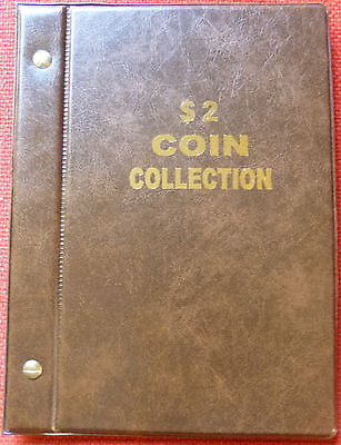 VST AUSTRALIAN $2 COIN ALBUM 1988 to 2018 MINTAGES PRINTED -  BROWN COLOUR