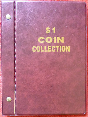 VST AUSTRALIAN $1 COIN ALBUM 1984 to 2018 MINTAGES PRINTED -  RED COLOUR