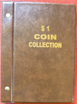 VST AUSTRALIAN $1 COIN ALBUM 1984 to 2018 MINTAGES PRINTED -  BROWN COLOUR