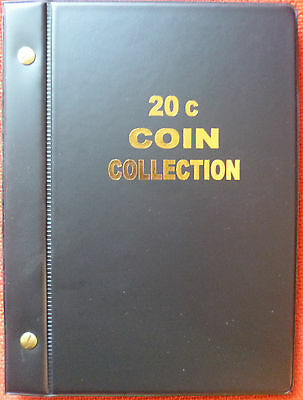 VST AUSTRALIAN 20c COIN ALBUM 1966 to 2018 MINTAGES PRINTED -  BLACK COLOUR