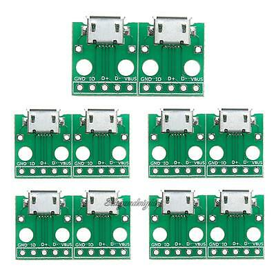 10Pcs Micro USB to DIP Adapter 5pin Female Connector B Type pcb Converter Board