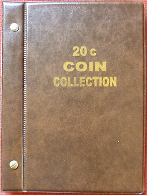 VST AUSTRALIAN 20c COIN ALBUM 1966 to 2019 MINTAGES PRINTED -  BROWN COLOUR