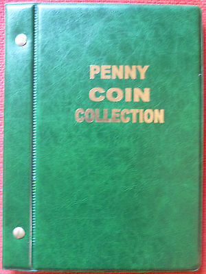 VST AUSTRALIAN 1d PENNY COIN ALBUM 1911 to 1964 MINTAGES PRINTED - GREEN COLOUR